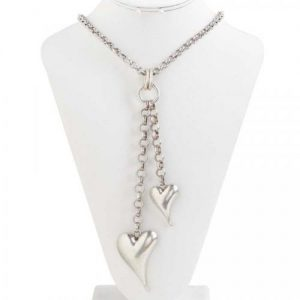Silver Double Heart Long Necklace